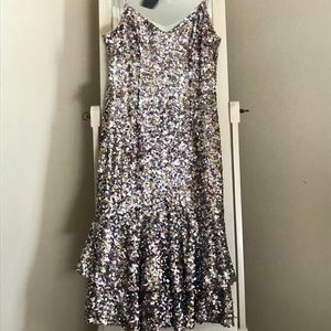 NWT Adrianna Papell Sequin Mermaid Midi Dress
